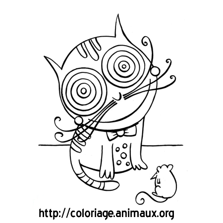 Coloriage chat grands yeux