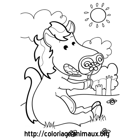 Coloriage cheval assis