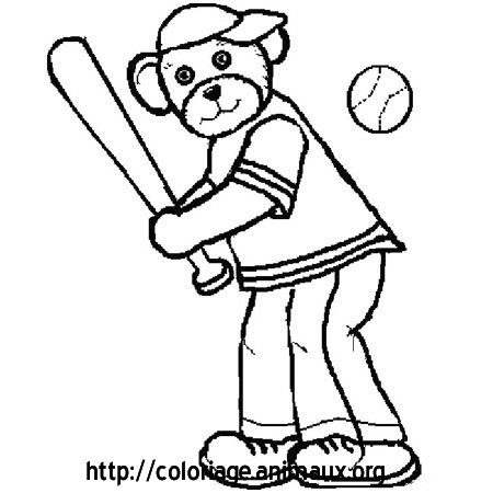 Coloriage ours baseball