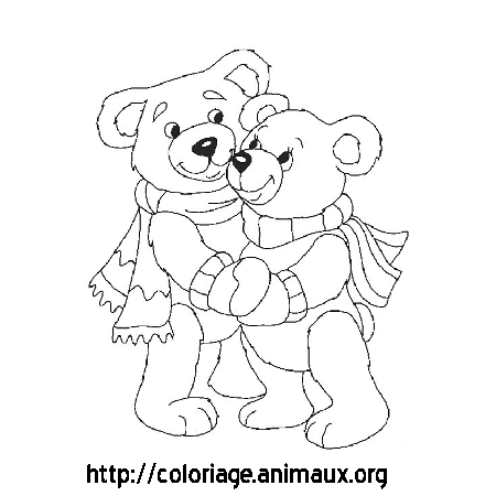 Coloriage ours amoureux
