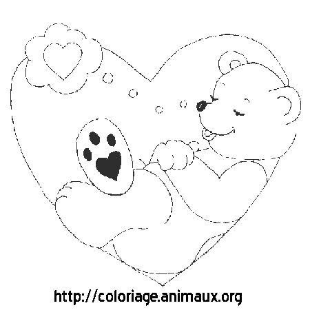 Coloriage ours coeur