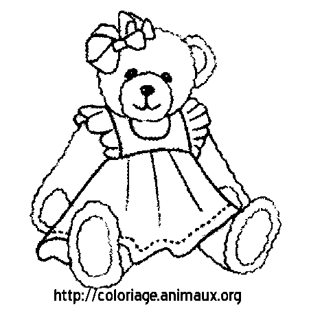 Coloriage ours et robe