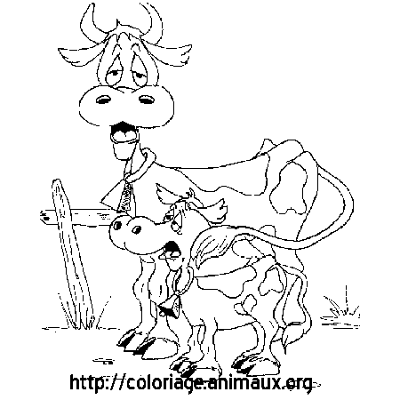 Coloriage vaches fatiguees
